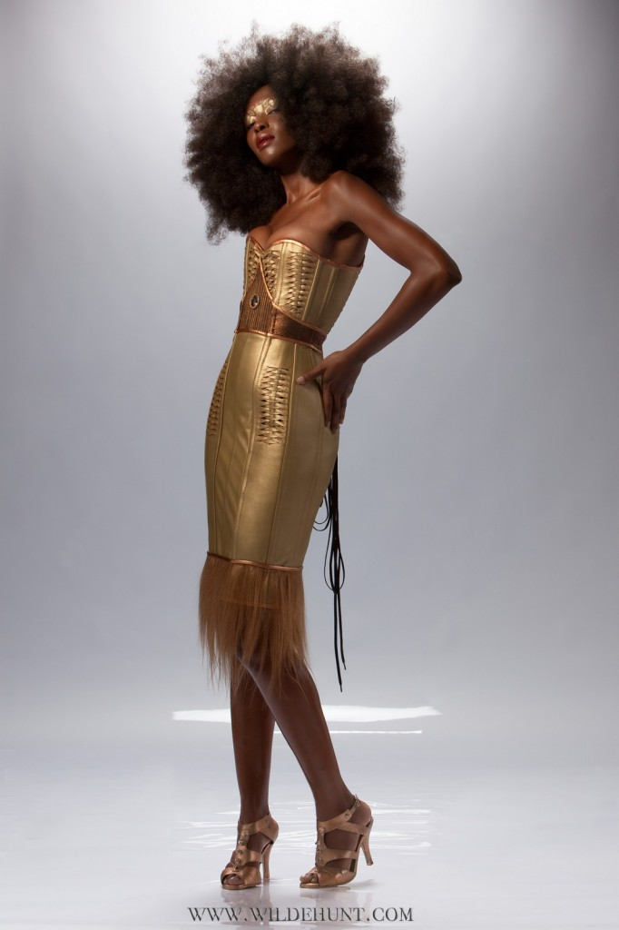 Gold Leather Corset Dress with Swarovski Crystal